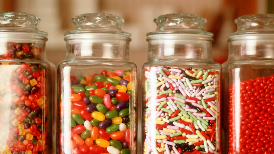Can you guess how many candies are in each jar? Chefshots - Eric Futran/Getty Images