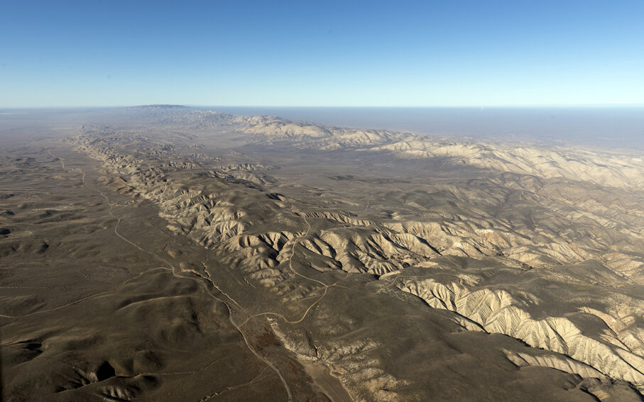 Aerial view of a portion of the San Andreas fault in California Sierra Madre Mountains. This area experiences about 10,000 earthquakes annually. Carol M. Highsmith/Buyenlarge/Getty Images