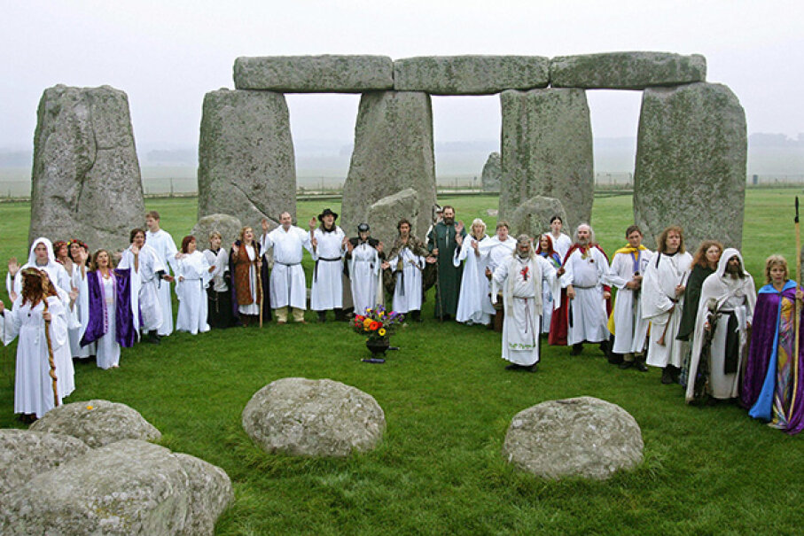 This 2007 photo shows Druids preforming a pagan Samhain blessing ceremony at Stonehenge, in southern England. CARL DE SOUZA/AFP/Getty Images