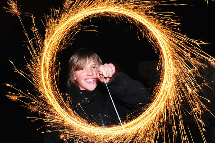 Eleven-year-old Conor Hewitt makes light circles with a sparkler during Bonfire Night celebrations on Nov. 5, 2009 in Brighton, England. Mike Hewitt/Getty Images)
