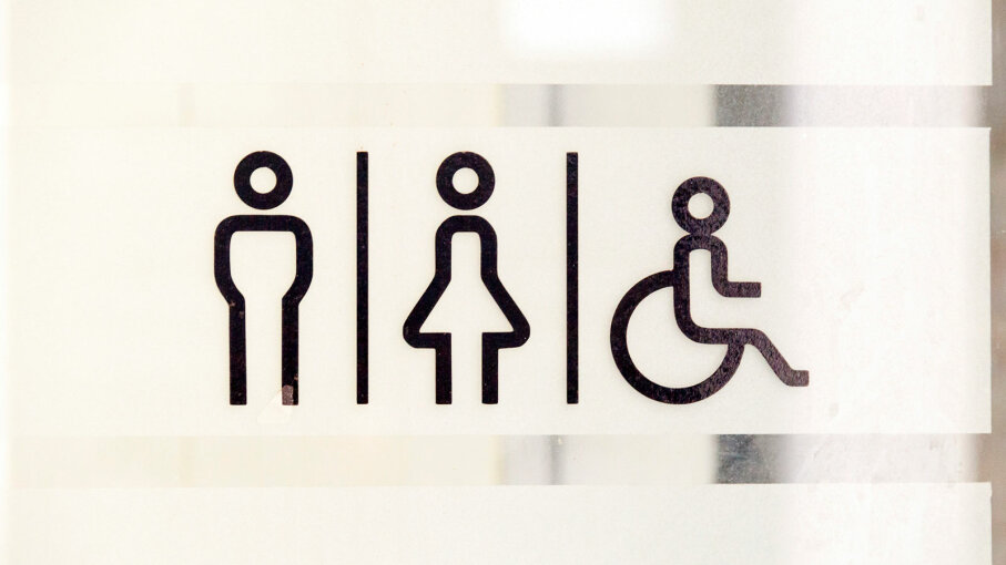 bathroom signs for man, woman, disabled