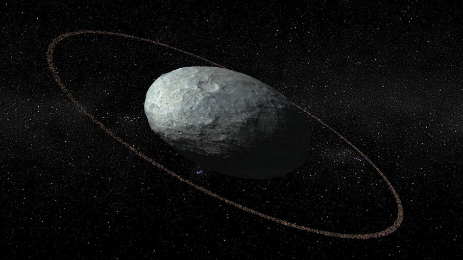 Scientists have identified a ring circling Haumea, an egg-shaped dwarf planet (relatively) near Pluto shown in this artist's illustration. JM Madiedo, JL Ortiz/IAA-CSIC