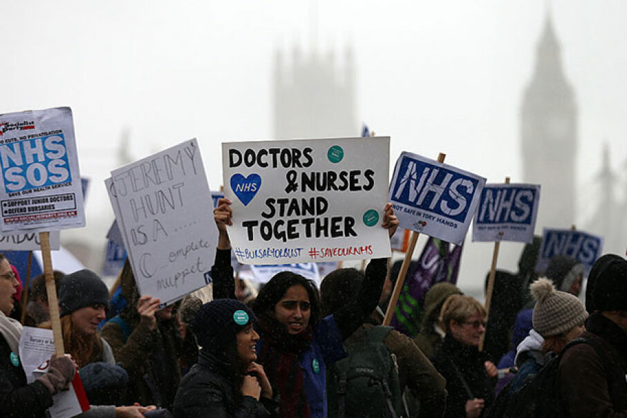 Student nurses and health workers demonstrate in London in 2016 against government plans to scrap the National Health Service grants given for training and to replace them with loans. Carl Court/Getty Images