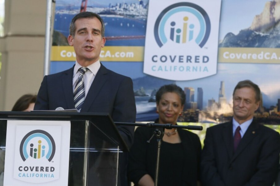 Eric Garcetti, mayor of Los Angeles, Calif., speaks at a Covered California event on Oct. 1, 2013 as part of the opening of the state's Affordable Care Act insurance health insurance marketplace.  © LUCY NICHOLSON/Reuters/Corbis
