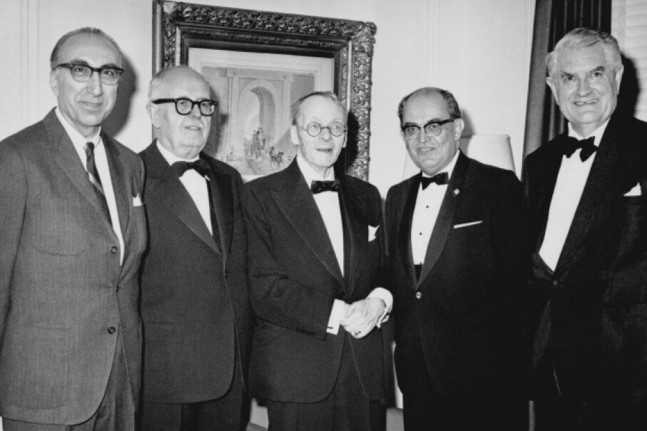 Houssay's fascination with the pituitary gland and its direction of insulin had big ramifications for the chronic disease diabetes. Houssay is second from the left in this picture from 1947. © Bettmann/Corbis
