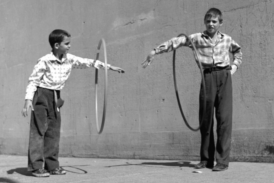 The hoop is a simple toy, but it's been entertaining kids for centuries.  Evans/Hulton Archive/Getty Images