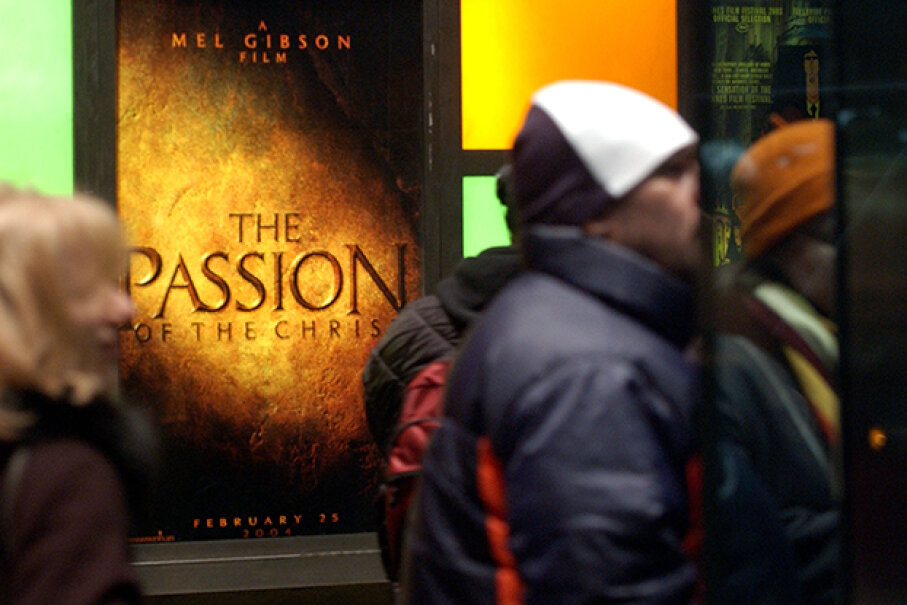 """Despite -- or sometimes because of -- the extreme violence in the film, Mel Gibson's """"Passion of the Christ"""" attracted huge lines at theaters. Stephen Chernin/Getty Images"""