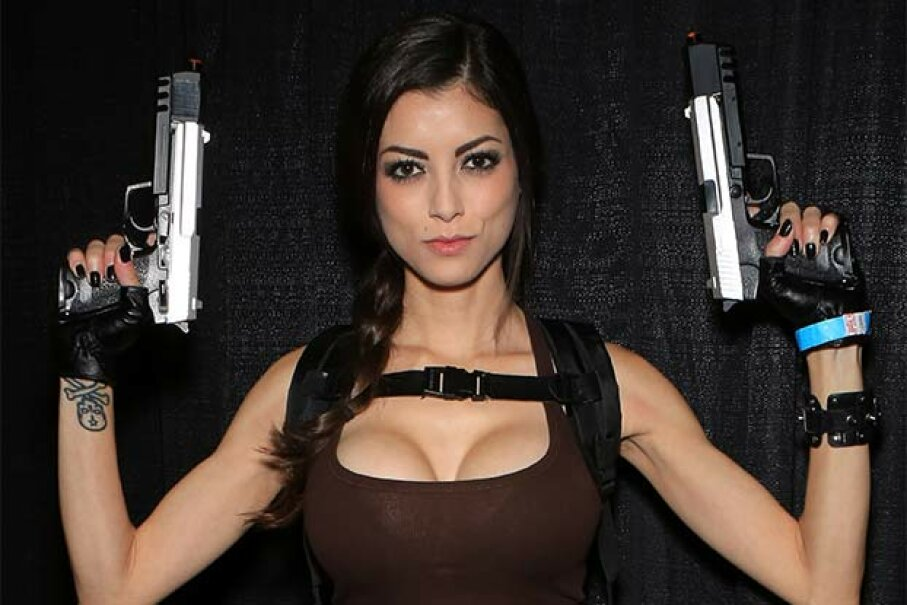 Model LeeAnna Vamp, dressed as the character Lara Croft from the 'Tomb Raider' at Comic Con in 2013. The beautiful babe who can also kick butt is becoming a latter-day cliché. Gabe Ginsberg/FilmMagic