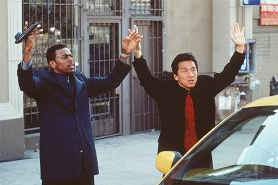 Two ethnic stereotypes define one movie: Jackie Chan (R) played the wise mild-mannered policeman while Chris Tucker played his crazy sidekick in 'Rush Hour.' Hulton Archive/Getty Images