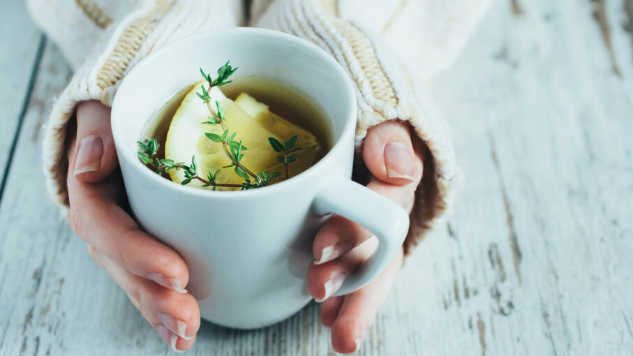 cup of tea with lemon and thyme