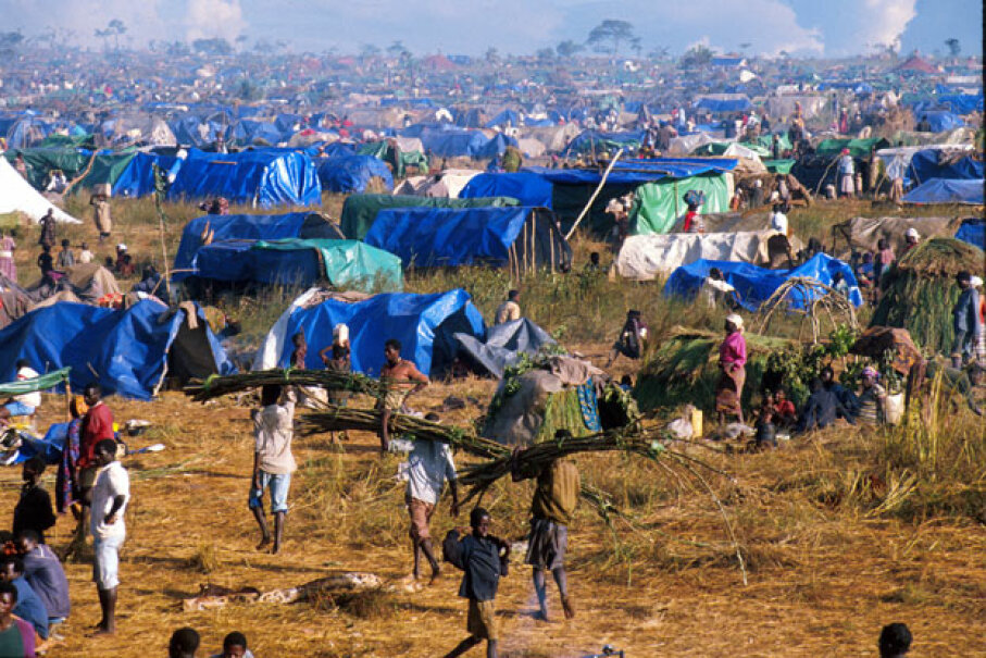 A May 11, 1994 photo of refugee camp in Tanzania where more than 300,000 mostly Rwandan Hutus lived after fleeing the Tutsi-led rebel Rwandan Patriotic Front. The RPF entered Rwanda to stop the genocide of Tutsis by the ruling Hutus.  © Paula Bronstein/Liaison/Getty Images