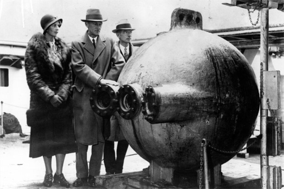 Inventor Rick Dickson was inspired to create his hydrosphere after reading about naturalist and explorer Dr. Charles William Beebe (pictured here), who plumbed the depths of the ocean in a bathysphere back in the 1930s. Keystone/Getty Images