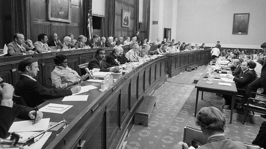 Impeachment proceedings start in the House of Representatives, which requires a majority vote to impeach. Here the House Judiciary Committee debated on the possible impeachment of President Richard Nixon in 1974. Bettmann/Contributor/Getty Images