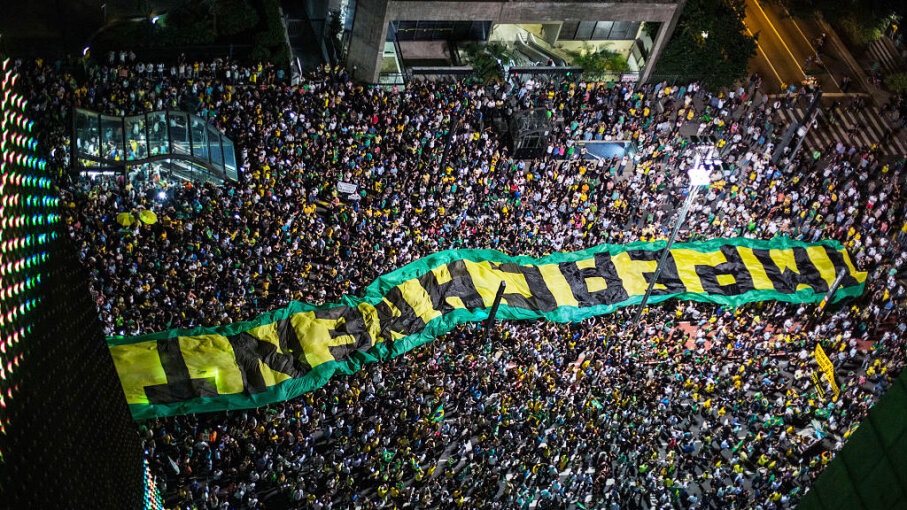 Demonstrators protestested for the impeachment of Brazilian President Dilma Rousseff in 2016. She was ultimately convicted and is standing trial to annul the results of her 2014 presidential win. Victor Moriyama/Getty Images