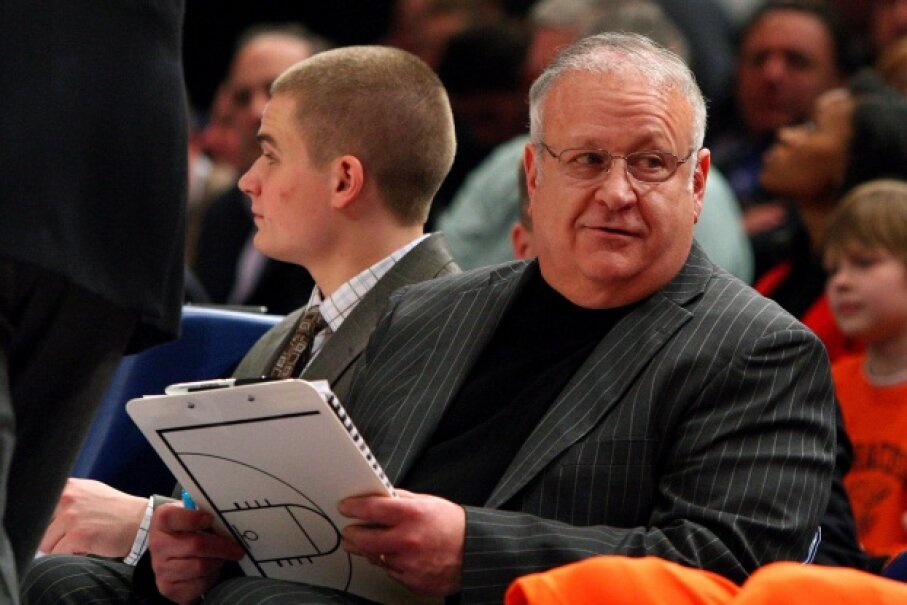 Bernie Fine on the sidelines at a game between the Syracuse Orange and the Connecticut Huskies during the quarterfinals of the Big East Tournament in Madison Square Garden on March 12, 2009 in New York City. ©Jim McIsaac/Getty Images