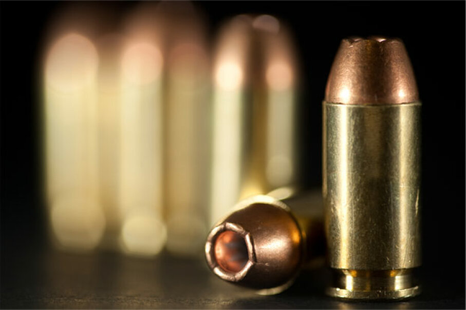 The bullets on the ammo pictured here all have copper jackets. iStockphoto/Thinkstock