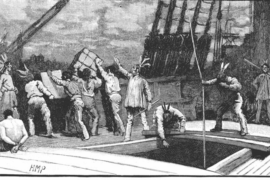 You're looking at one of the more famous disguises that history has to offer: the Boston Tea Party protesters who disguised themselves as Native Americans before dumping all that tea. Photos.com/Thinkstock