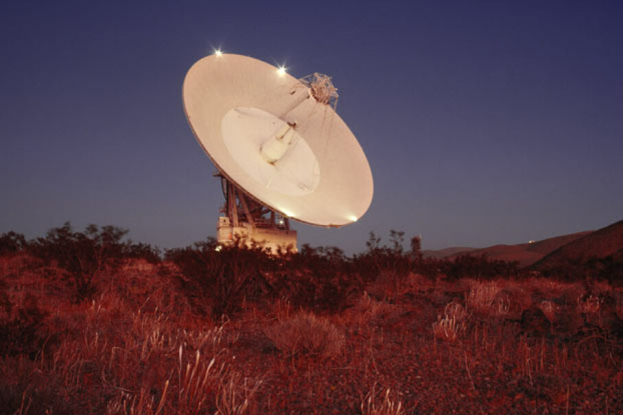 The Goldstone Deep Space Station (Calif.) antenna is part of the Deep Space Network (DSN), an international network of large antennas and communications facilities that support interplanetary spacecraft missions. Harald Sund/The Image Bank/Getty Images