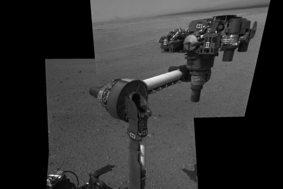 A composite image shows the NASA's Curiosity Mars rover with its robotic arm extended for the first time on Mars, Aug. 20, 2012. Could there be a time when every space object communicates with each other rather than just with Earth-based stations? NASA/JPL-Caltech/Getty Images