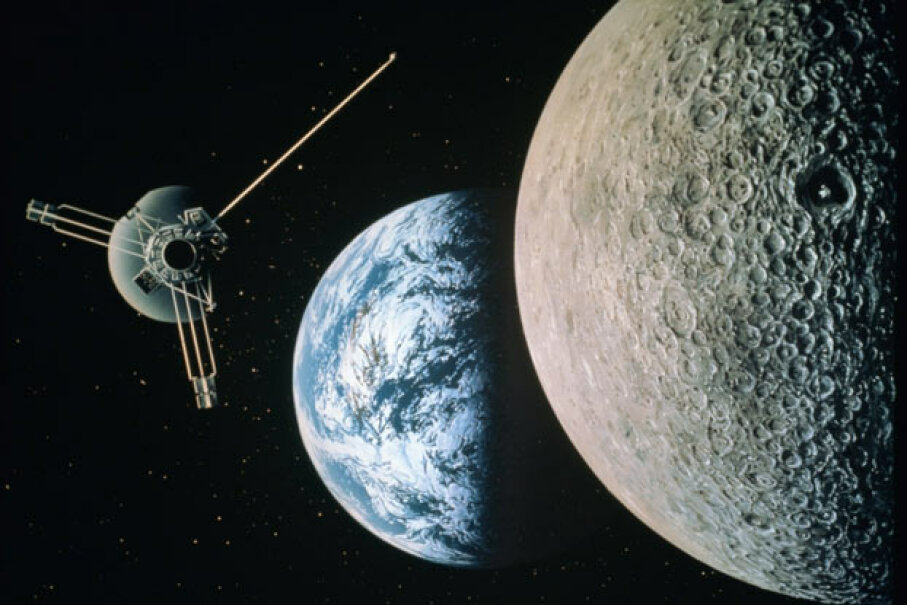 Satellite floating in space, with the moon in foreground and Earth in background. Lifesize/Getty Images