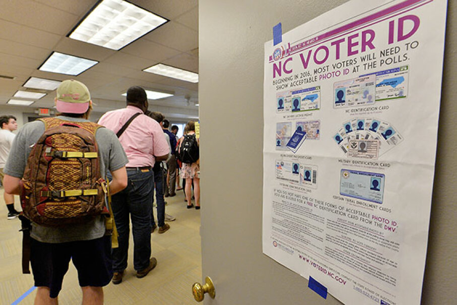 North Carolina State University students wait to vote in the primaries. The North Carolina 2016 primaries were the state's first use of the voter ID law, which excludes student ID cards.  Sara D. Davis/Getty Images