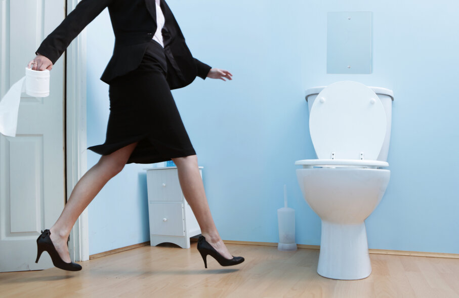 executive woman at toilet