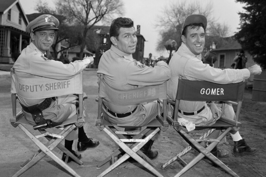 """Actors Don Knotts, Andy Griffith and Jim Nabors on the set of """"The Andy Griffith Show."""" CBS Photo Archive/Getty Images"""