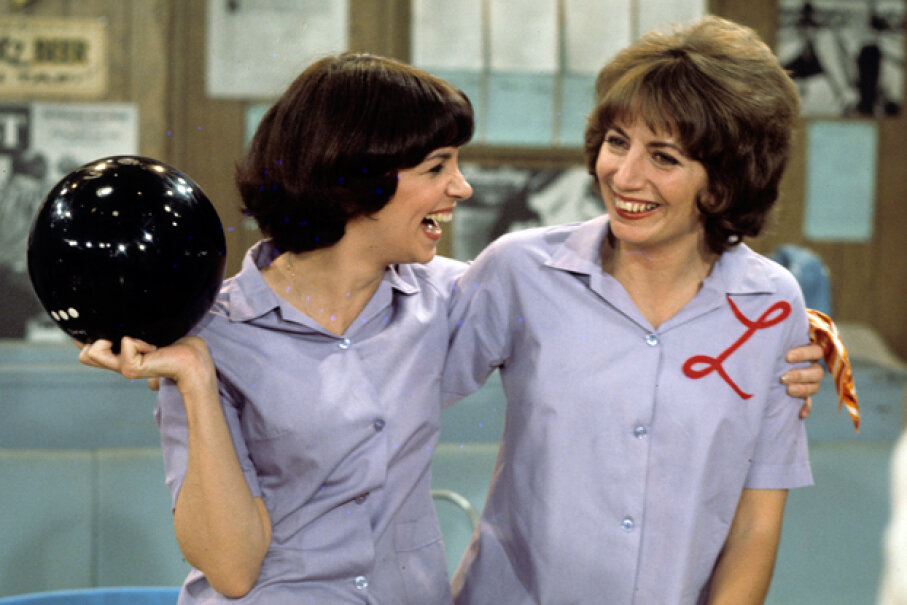 "Cindy Williams and Penny Marshall in a 1976 episode of ""Laverne & Shirley."" ABC Photo Archives/Getty Images"