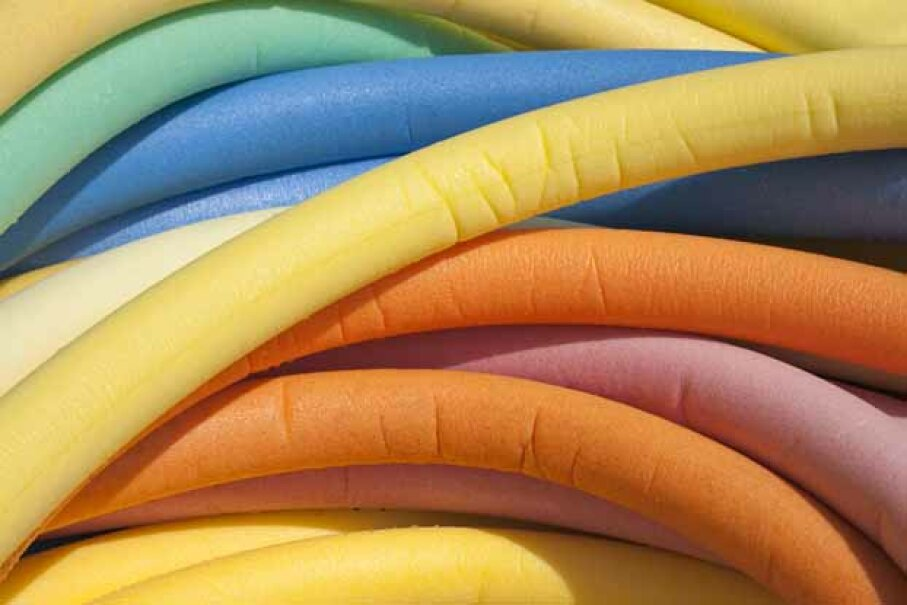 Noodle ball is played on land with swimming pool noodles cut in half cross-wise. iStockphoto/Thinkstock