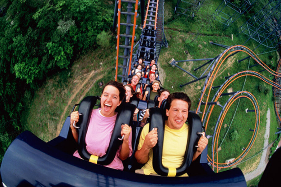 While you're screaming your head off on a roller coaster, it's possible you  might lose your memory too. Chad Slattery/Getty Images