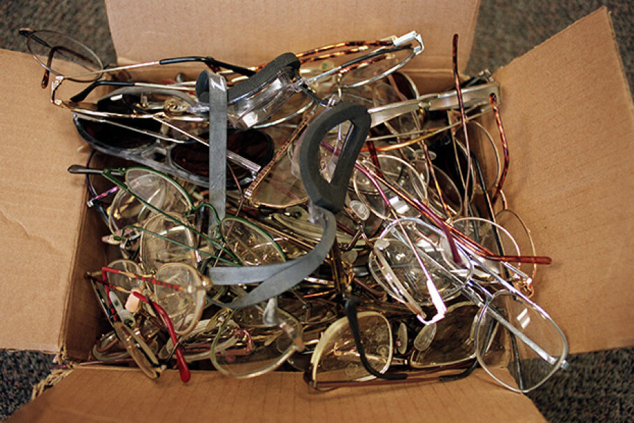 This cardboard box full of eyeglasses is just a small part of the many things found by employees around the Mind Eraser roller coaster at Elitch Gardens Theme and Water Park, Denver. Karl Gehring/The Denver Post via Getty Images