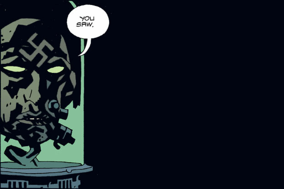 Yep, Nazi head in a jar ... Image courtesy Mike Mignola/Darkhorse Comics