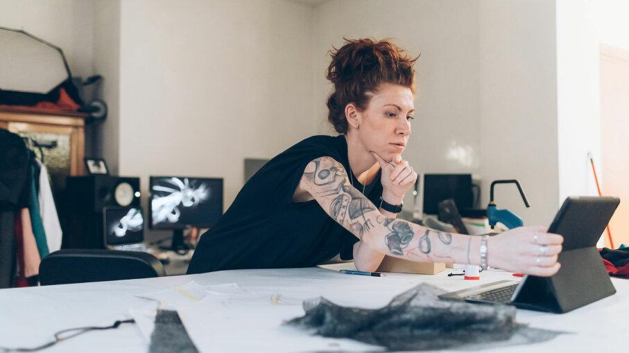 woman doing fashion design