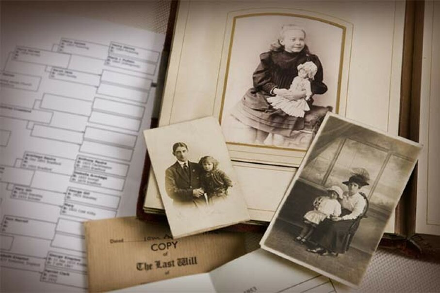 Gather all the old family photos and records you can for your family tree and talk to your relatives about them. Andrew Bret Wallis/Getty Images
