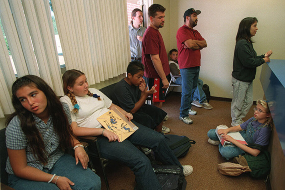 Students and parents wait in the office at Washington Middle School, Maine, after student complaints of headaches following a ruptured gas line. At William Byrd High School, Virginia, students also complained of headaches and tremors but no cause was ever found. Irfan Khan/Los Angeles Times via Getty Images