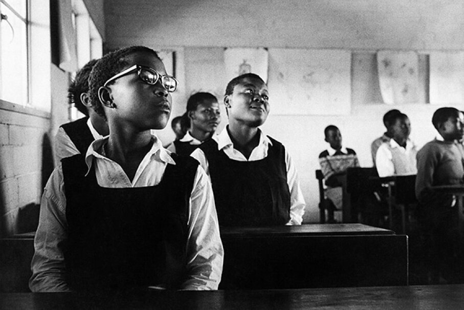 Girls sit in a classroom in Namibia, 1969. Back in 1962 in Tanzania (then Tanganyika), a laughing epidemic broke out at a girls' school. Jochen Blume/ullstein bild via Getty Images