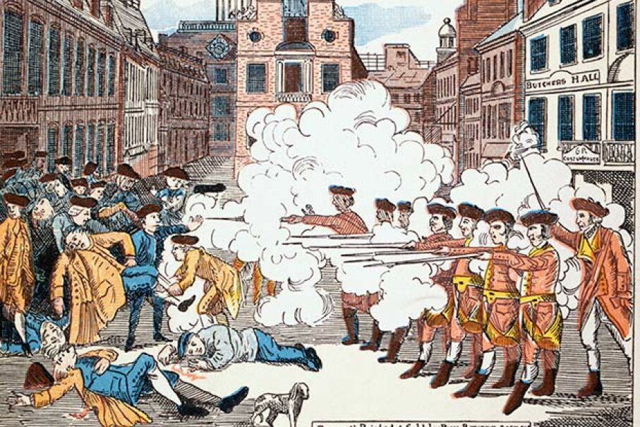 Paul Revere's famous engraving of the Boston Massacre shows the British soldiers shooting defenseless men, though there was violence on both sides. Crispus Attucks, the man lying closest to the soldiers was black but was depicted as white. © Bettmann/CORBIS