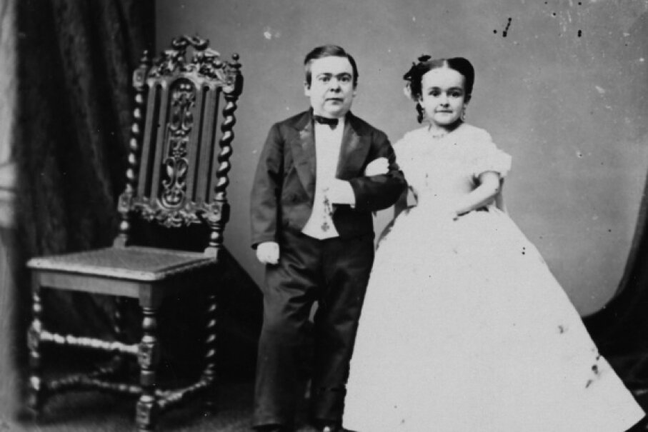 General Tom Thumb and his wife Lavinia Warren are pictured here in 1863. Hulton Archive/Getty Images