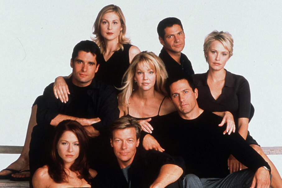"The cast of the seventh season of ""Melrose Place,"" a show spun off from ""Beverly Hills, 90210."" Hulton Archive/Getty Images"