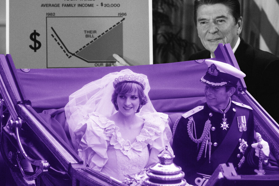 Everyone was tuned in to the royal wedding on July 30, 1981, not to Ronald Reagan's history-making tax cut. David Hume Kennerly/Anwar Hussein/WireImage/Getty Images
