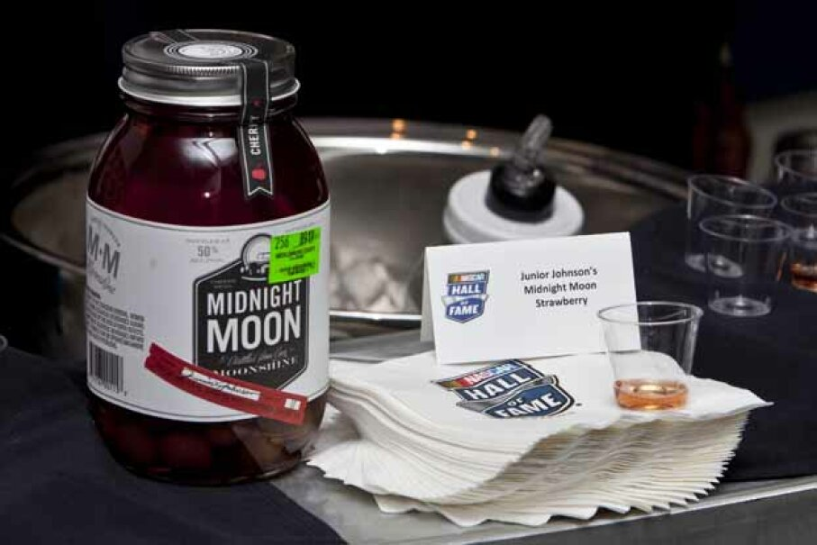 Samples of Junior Johnson's strawberry-flavored moonshine were handed out at NASCAR Hall of Fame Weekend in 2012. © Leon T. Switzer/ Icon SMI/Corbis