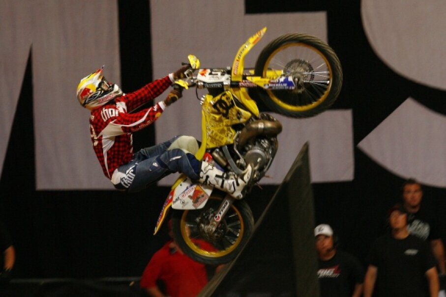 Travis Pastrana prepares to do the first recorded double backflip. Phillip Ellsworth/WireImage/Getty Images
