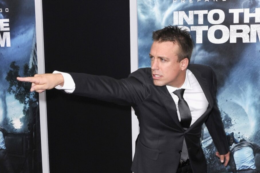 "Real-life storm chaser Reed Timmer might just be clowning for the cameras at the movie's premier, or he might be calling out the makers of ""Into the Storm"" on their sloppy application of how tornadoes work. © Stephen Lovekin/Getty Images"