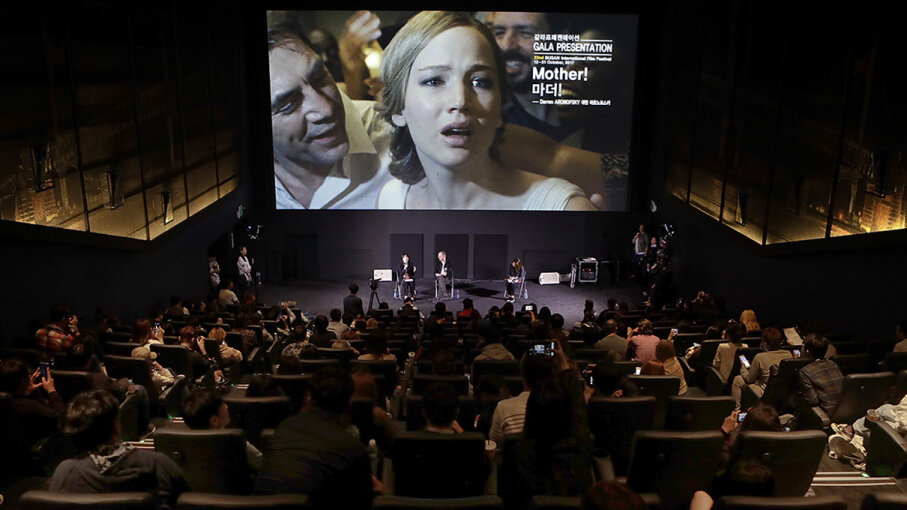 """Director Darren Aronofsky attends a post-screening Q&A of his controversial 2017 film """"Mother!"""" at the Busan International Film Festival. Woohae Cho/Getty Images for Paramount Pictures"""