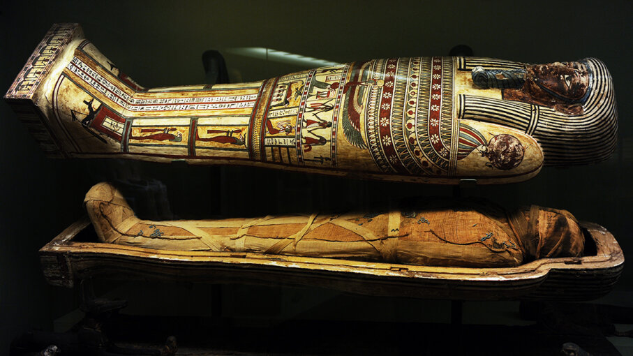 A sarcophagus and mummy from the later Ptolemaic Period (664-30 B.C.E.) on display at the National Museum of Denmark. Prisma/UIG/Getty Images