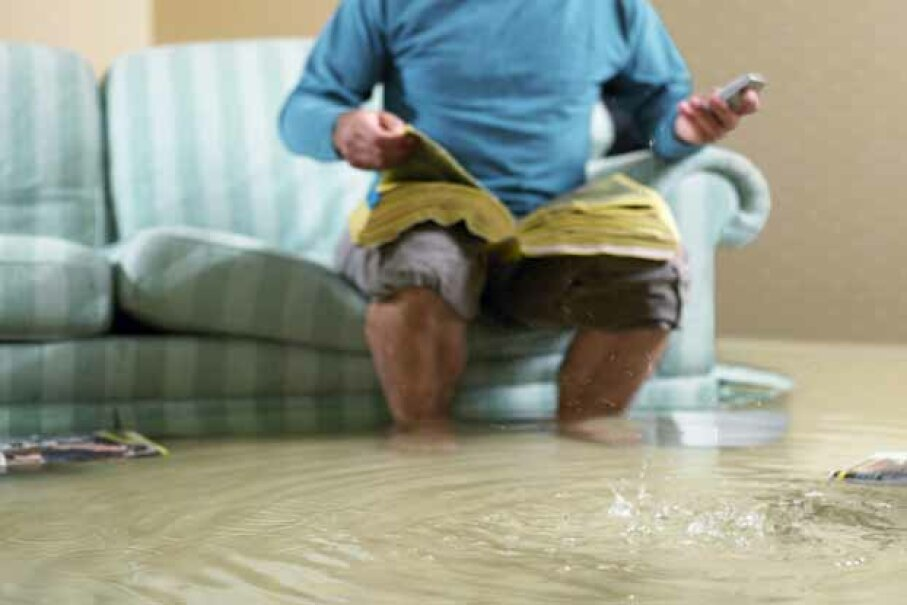 Just because the flood waters are rising doesn't mean you mightn't have to heed the call of nature. If TP is in short supply, improvise with the phone book. Michael Blann/Digital Vision/Thinkstock
