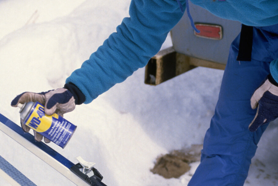 Some people use WD-40 to remove wax and dirt from skis; others to take off or prevent rust on them. And non-skiers have a hundred uses too. © Richard Hamilton Smith/CORBIS
