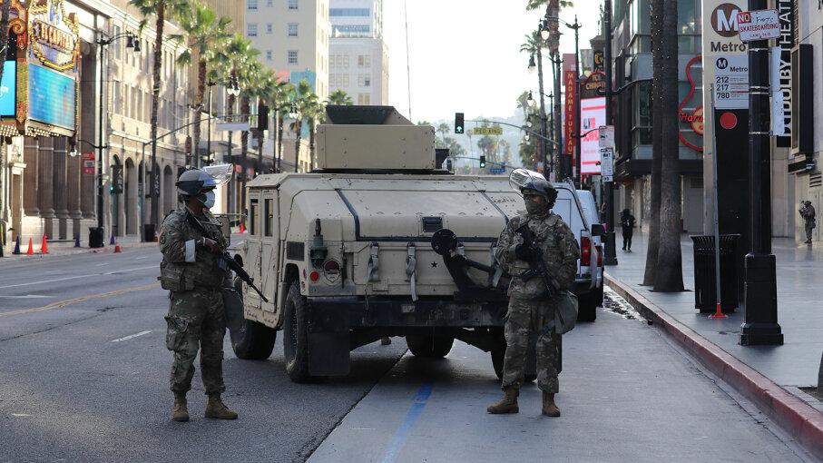 National guard patroling, police brutality