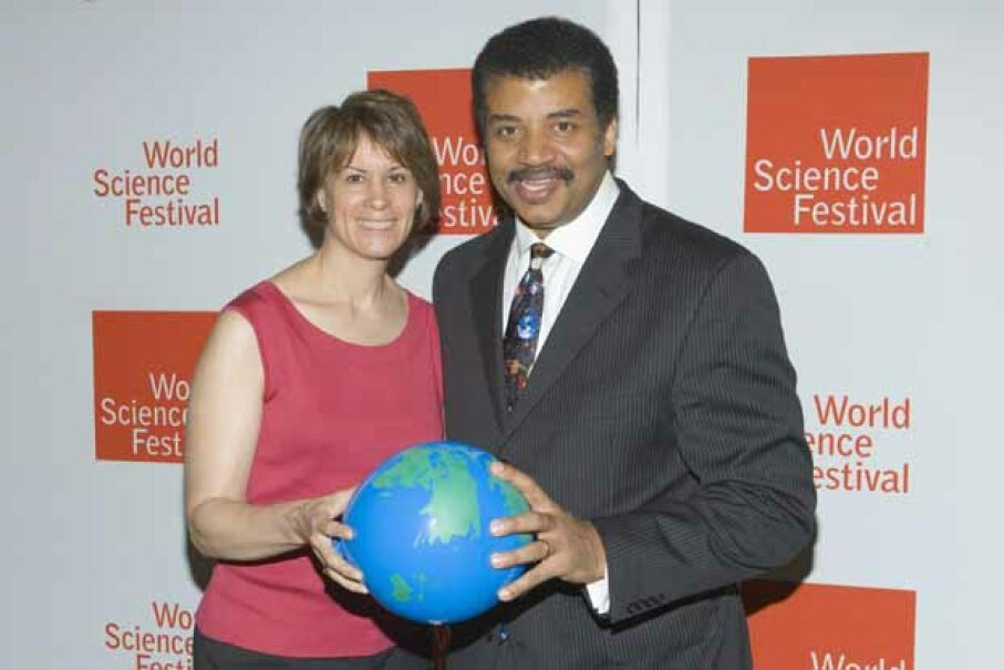 Neil deGrasse Tyson and wife Alice Young attend the World Science Festival opening gala at Lincoln Center in New York City. © LAN/Corbis