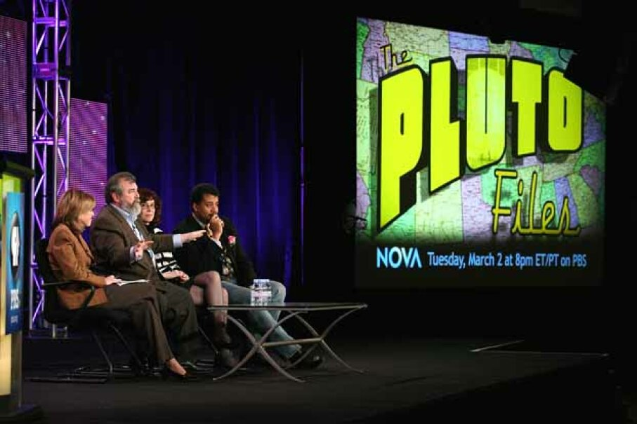 Tyson promoted the PBS show 'The Pluto Files' during a 2010 press tour. 'The Pluto Files' explored the rise and fall of the former planet. Frederick M. Brown/Getty Images